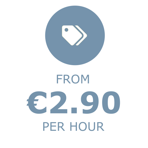 From €2.90 per hour